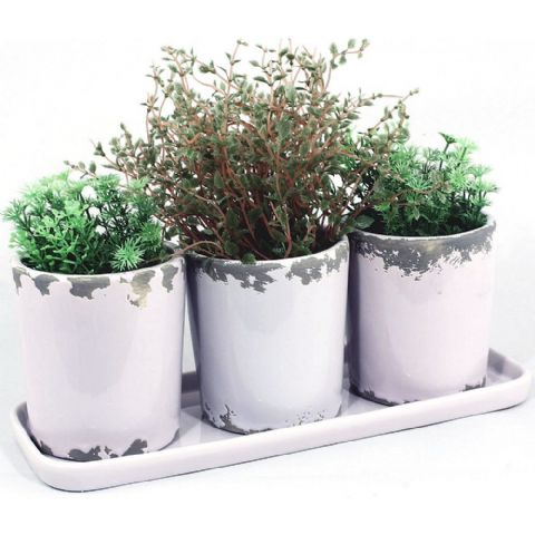 Lilac Windowsill Plant Pots & Tray